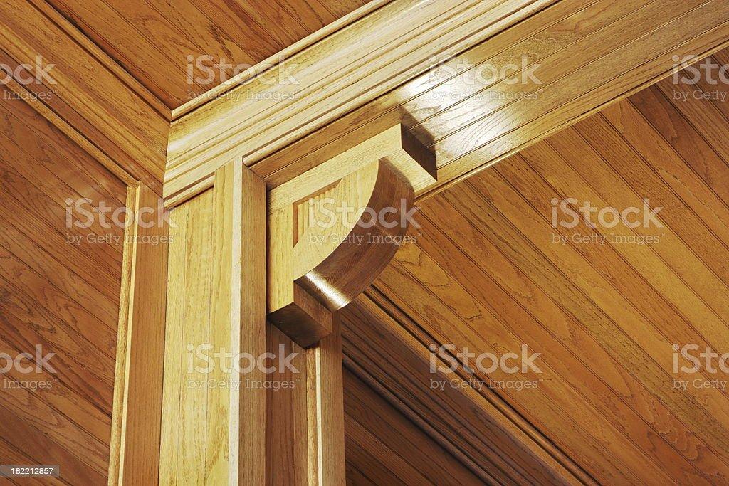 Woodgrain Paneling Pillar Beam Moulding stock photo