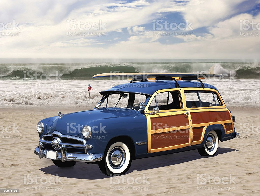 woodie on the beach stock photo