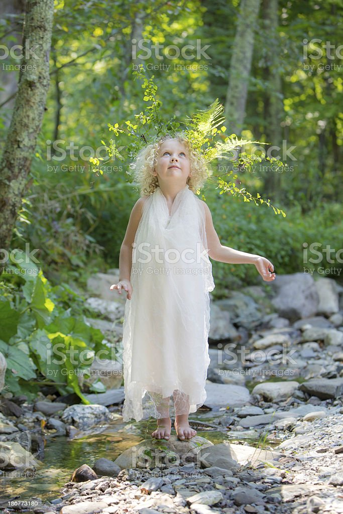 Woodland Fairy Looking up royalty-free stock photo