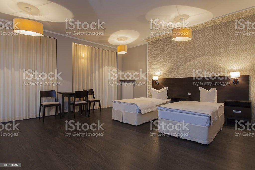 Woodland hotel - Bedroom royalty-free stock photo