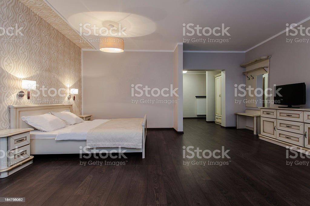 Woodland hotel - Modern bedroom royalty-free stock photo
