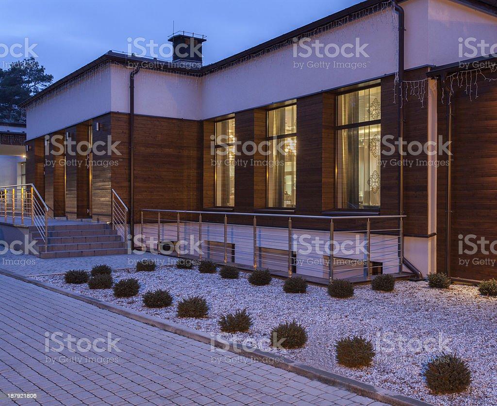 Woodland hotel - Outside royalty-free stock photo
