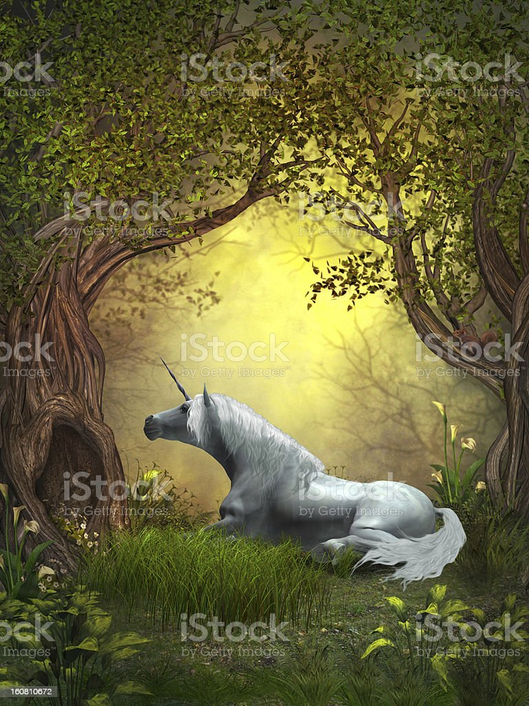 Woodland Unicorn stock photo