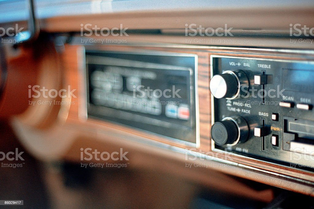 Wood-Paneled Car Interior - 1980s Sedan royalty-free stock photo