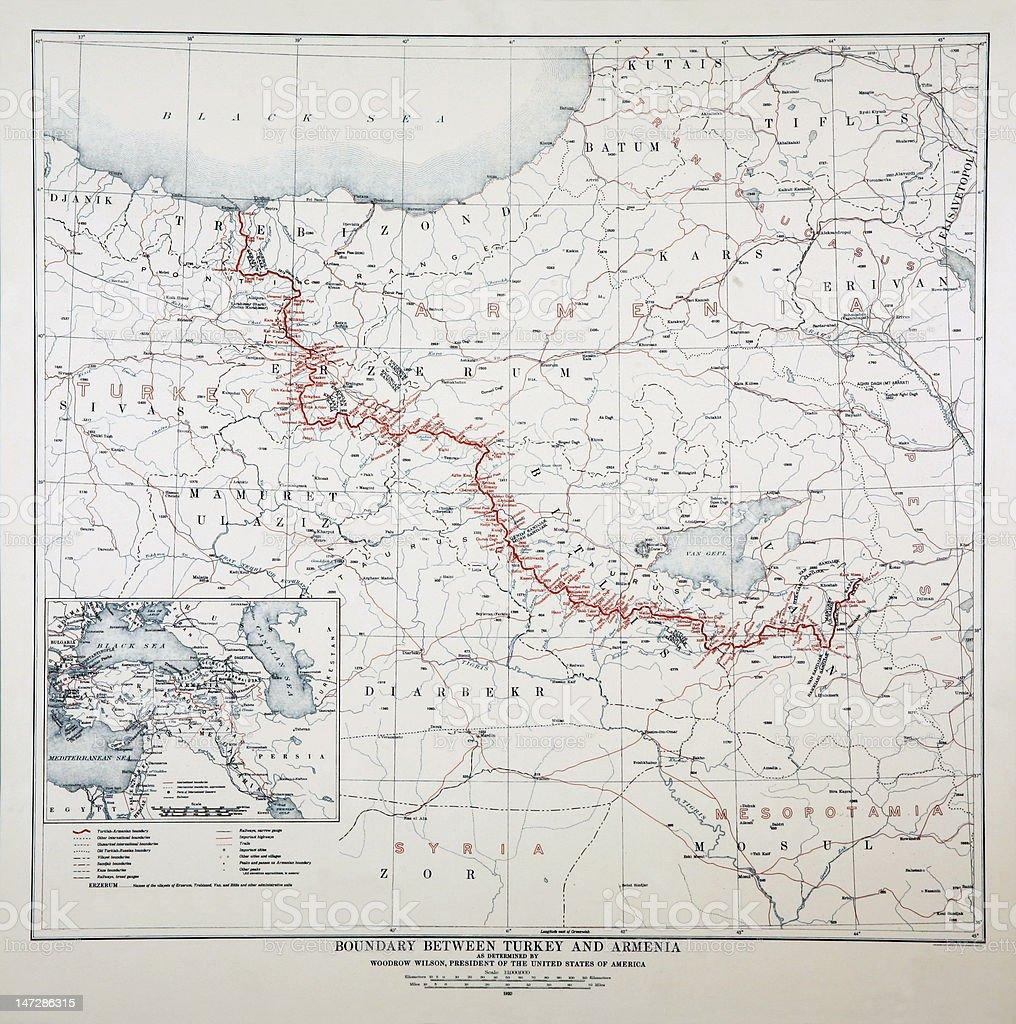Woodrow Wilson map 1920 year stock photo