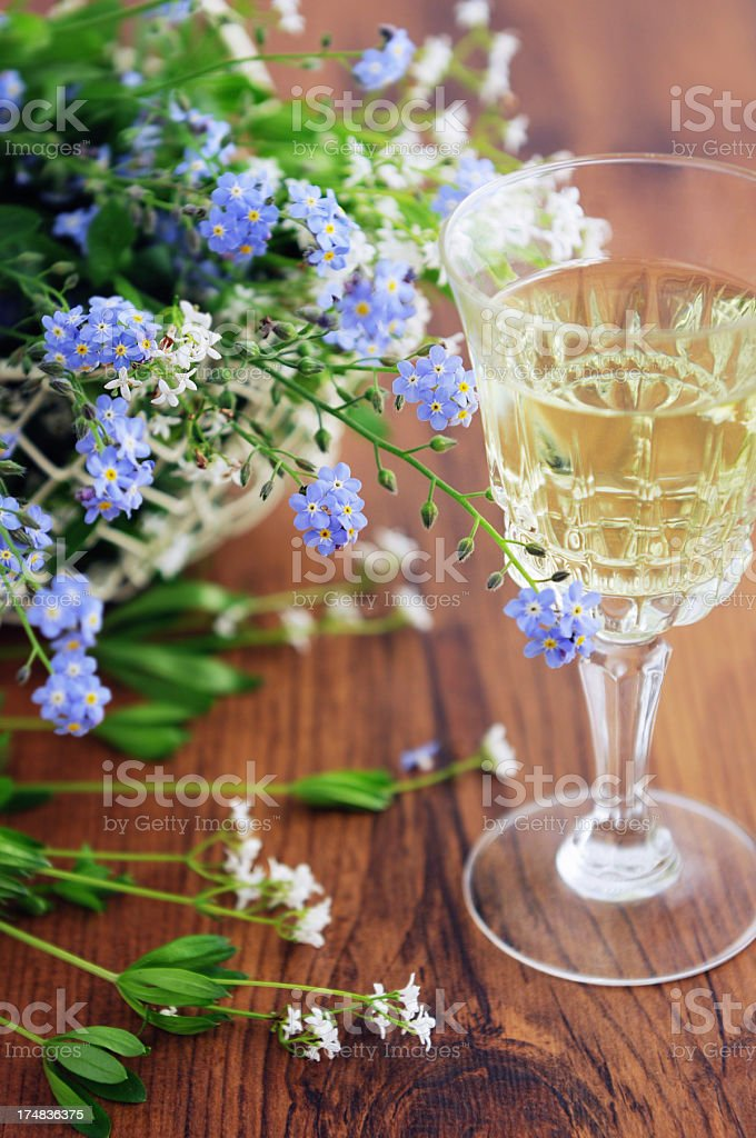woodruff punch with flowers like forget-me-not stock photo