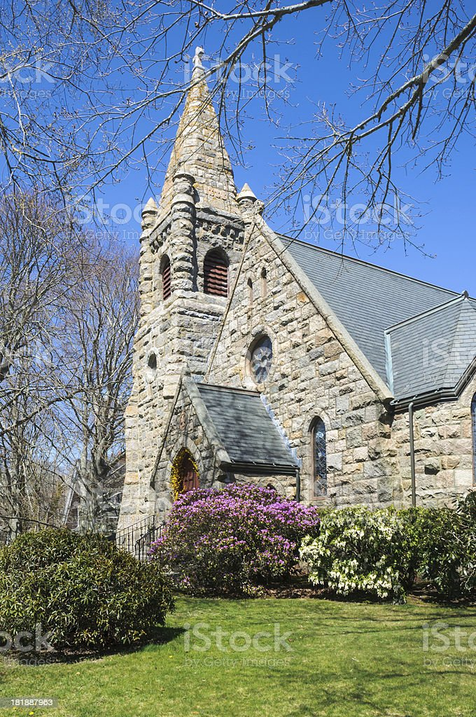 Woods Hole Stone Chapel stock photo