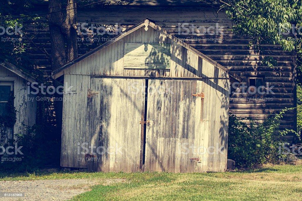 Woodshed stock photo