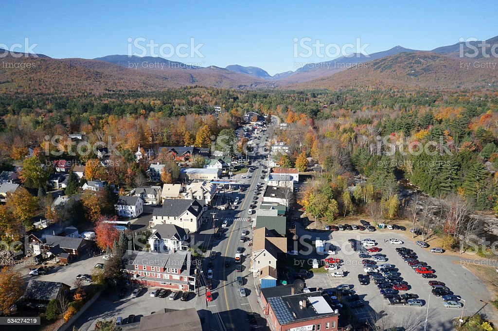 Woodstock New Hampshire Aerial White Montains stock photo