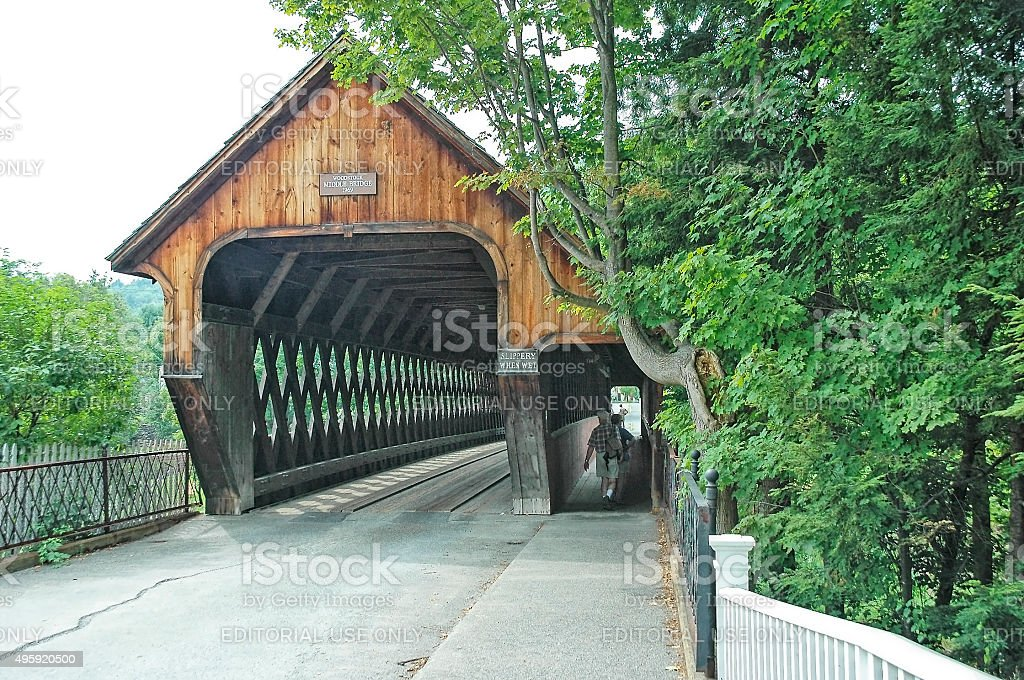 Woodstock Vermont Covered Bridged with Visitors stock photo