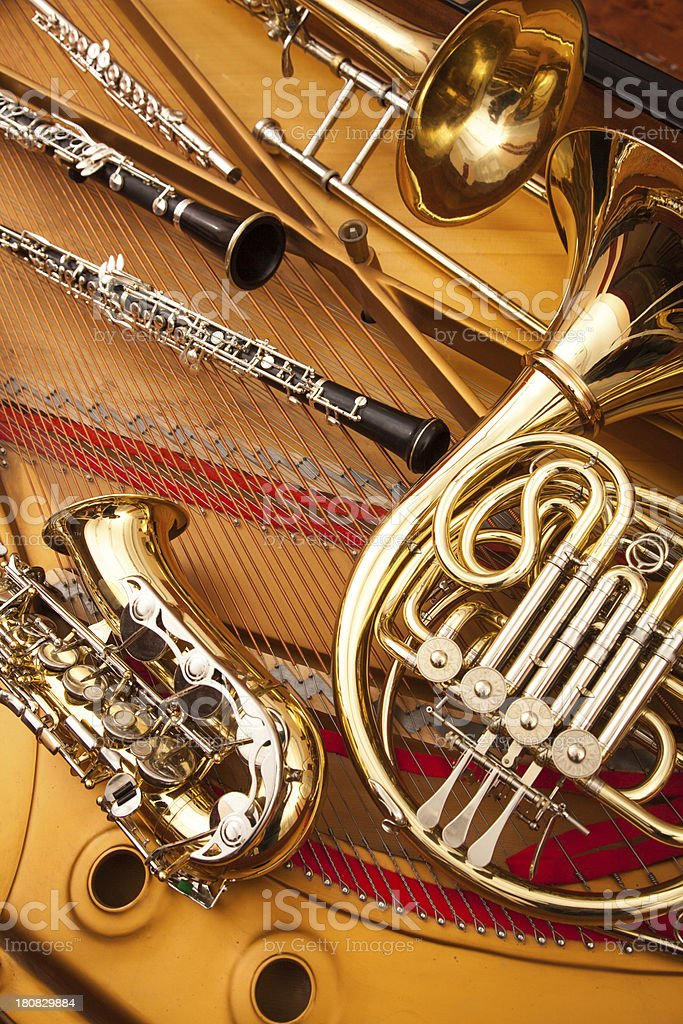 woodwind and brass instruments stock photo