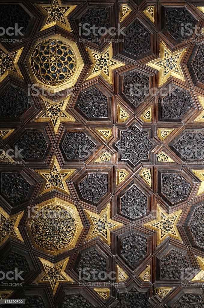Woodwork On The Pulpit of Aydinoglu Mehmet Bey Mosque stock photo