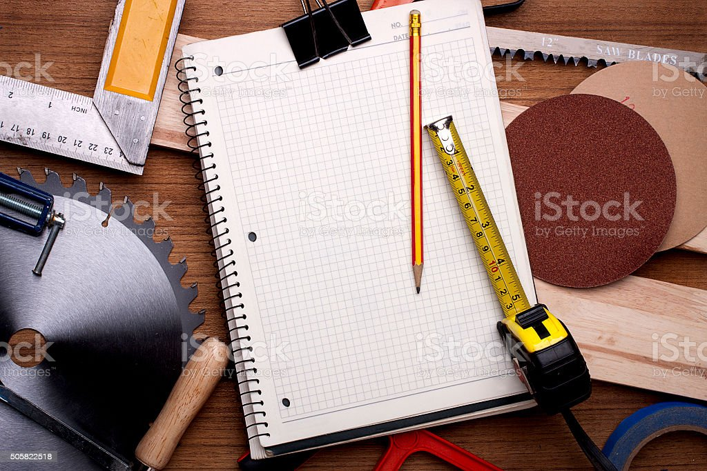 Woodwork planning project. stock photo