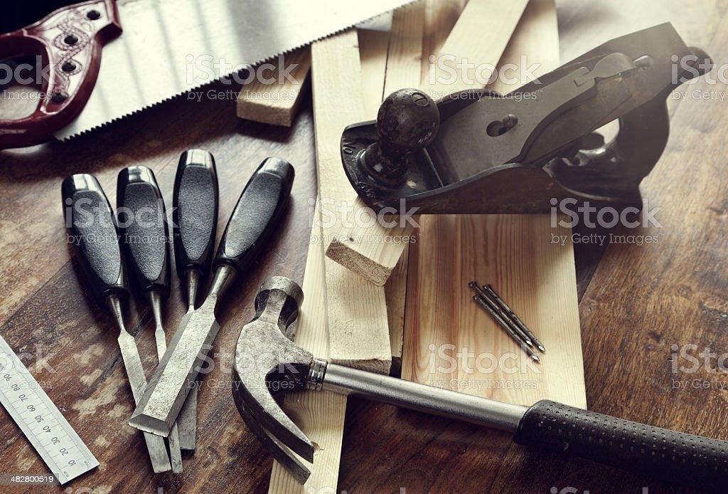 Woodwork tools stock photo