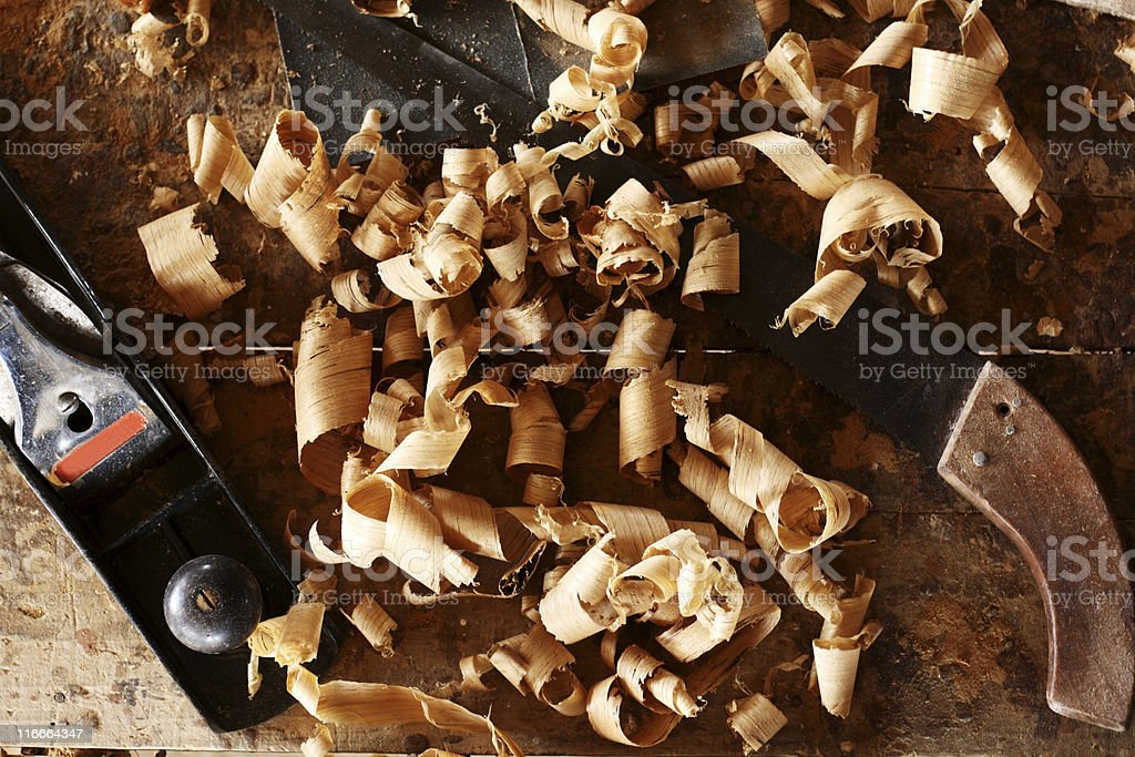 Woodworker's desk royalty-free stock photo