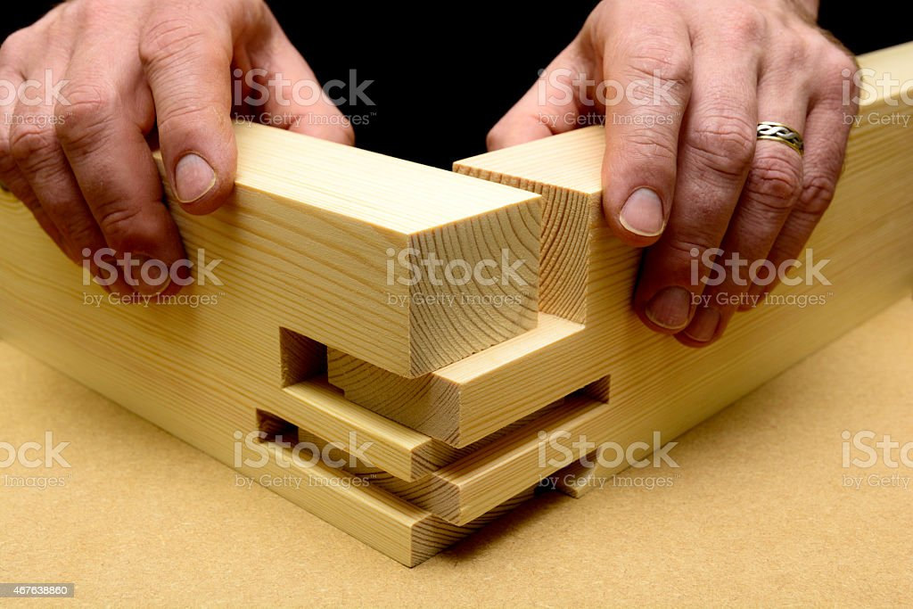 Woodworking Joint Detail stock photo