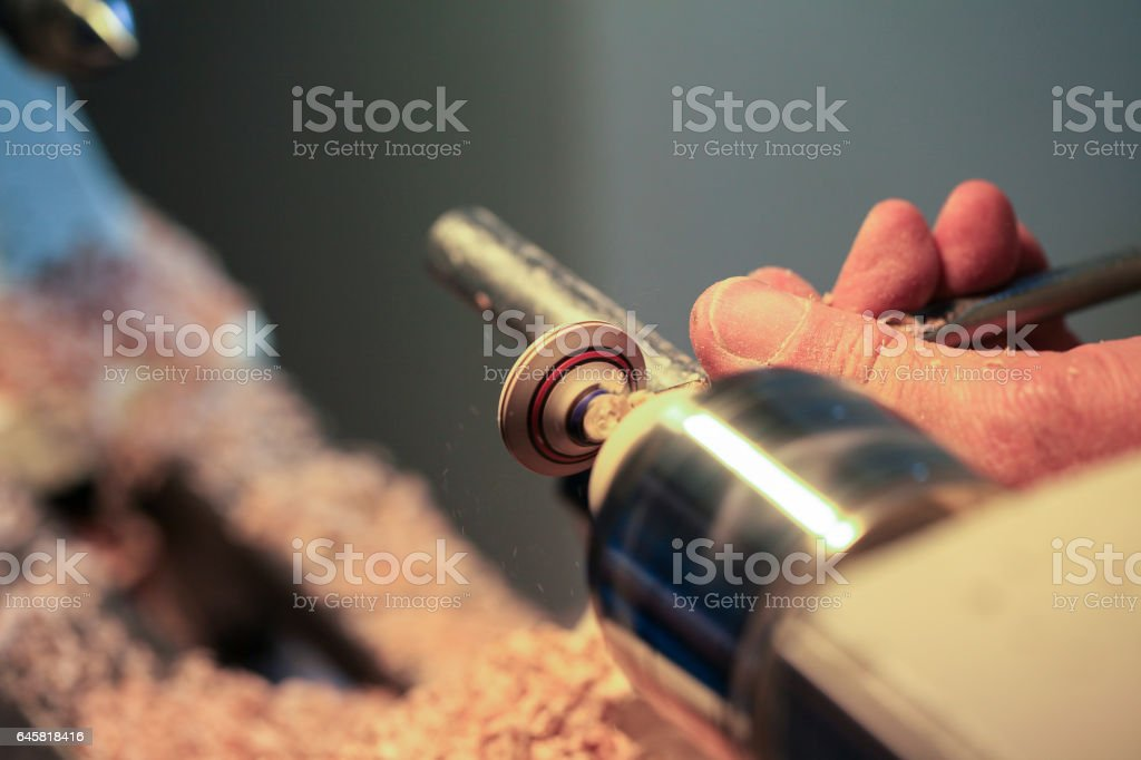 Woodworking on tiny object stock photo