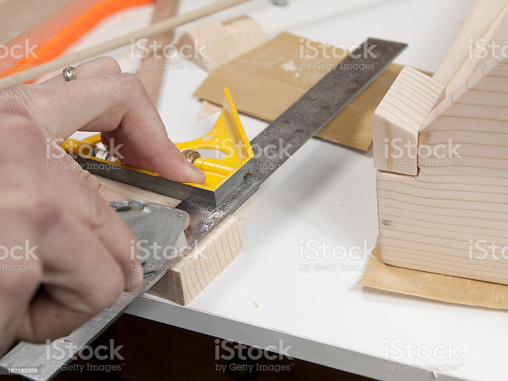 Woodworking Project Cutting Straight royalty-free stock photo
