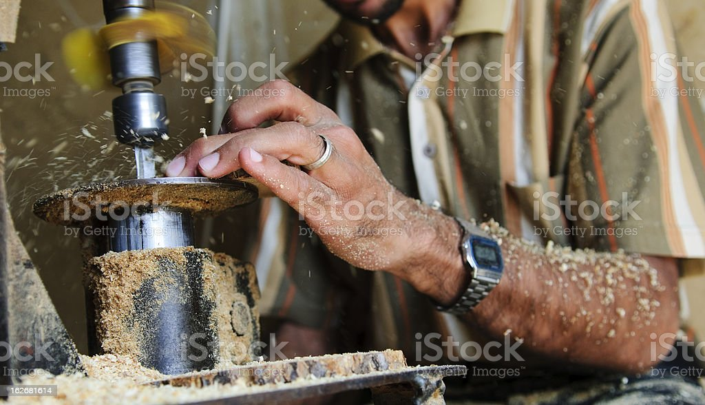 Woodworking with machine royalty-free stock photo