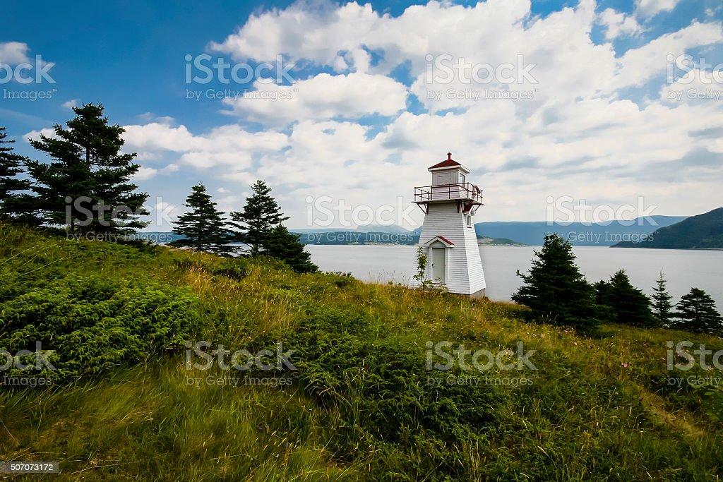 Woody Point Lighthouse, Gros Morne National Park, Newfoundland and Labrador stock photo