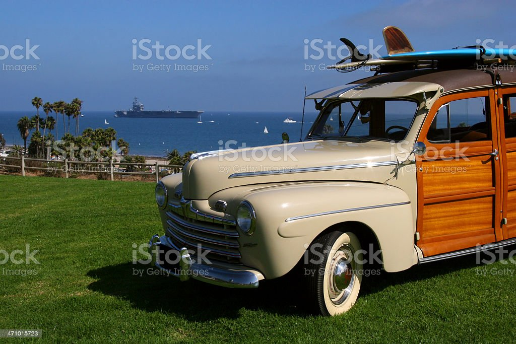 Woody Wagon and USS Reagan stock photo