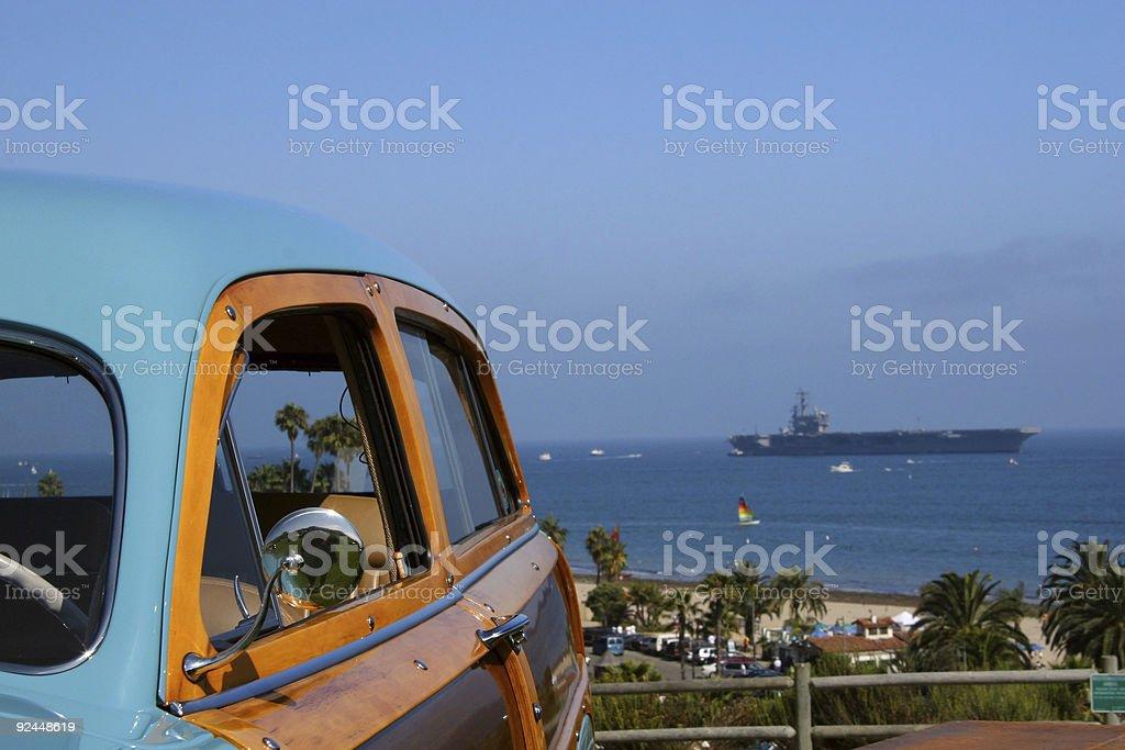 Woody Wagon and USS Reagan royalty-free stock photo