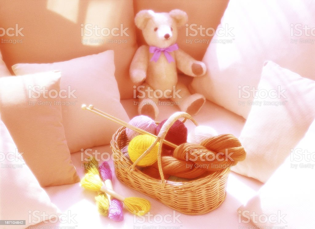 Wool and  cushion royalty-free stock photo