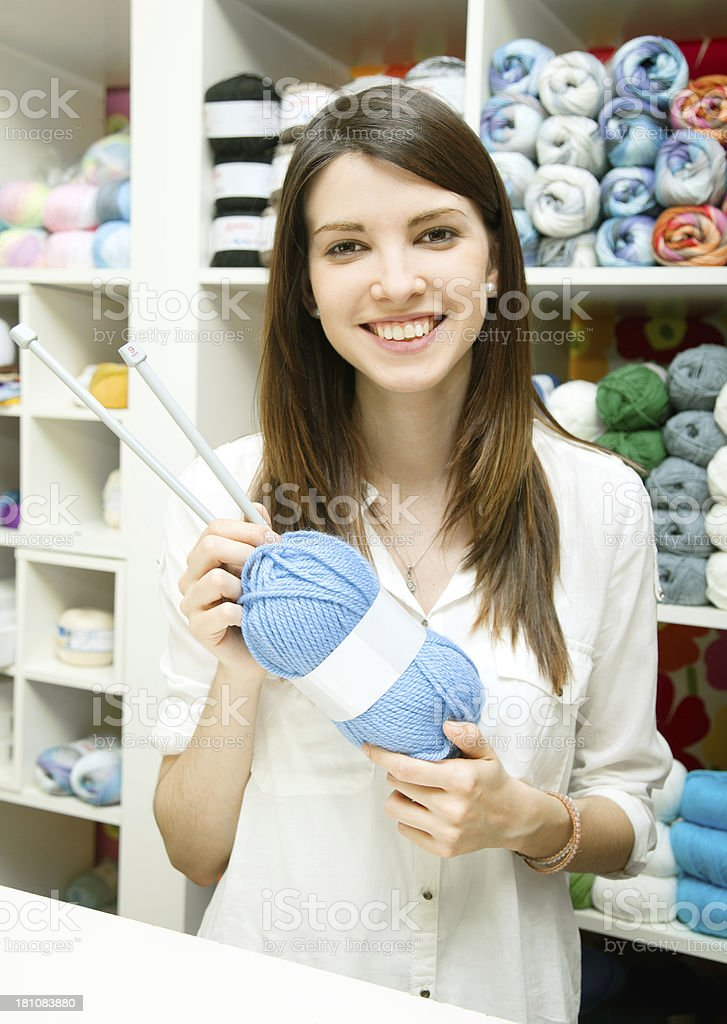 Wool and knitting shop owner royalty-free stock photo