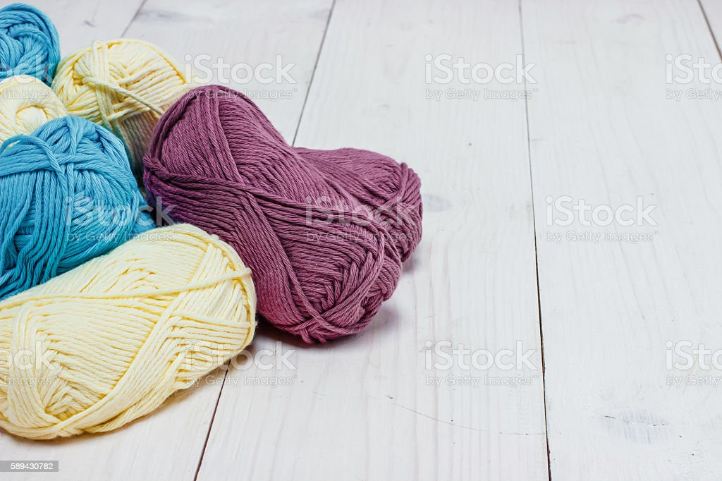 wool for knitting skein stock photo
