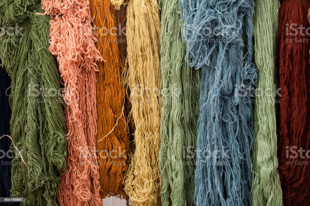 Wool for weaving carpets stock photo