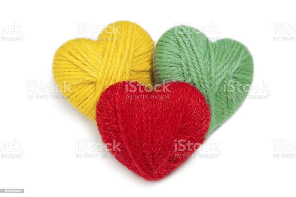 Wool hearts royalty-free stock photo
