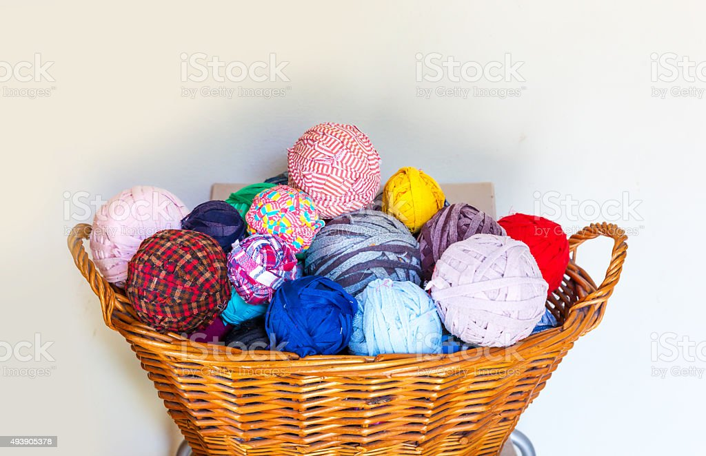 Wool in the basket stock photo