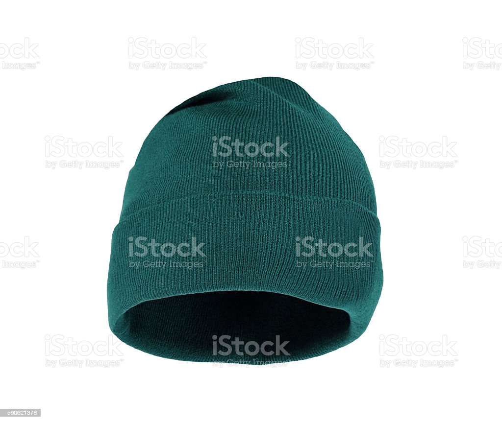 Wool knitted winter hat isolated stock photo