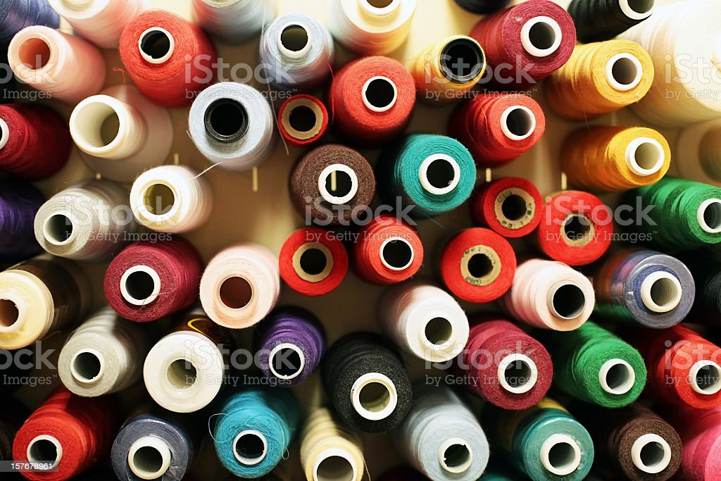 Wool, Rayon & Cotton Thread Spools royalty-free stock photo
