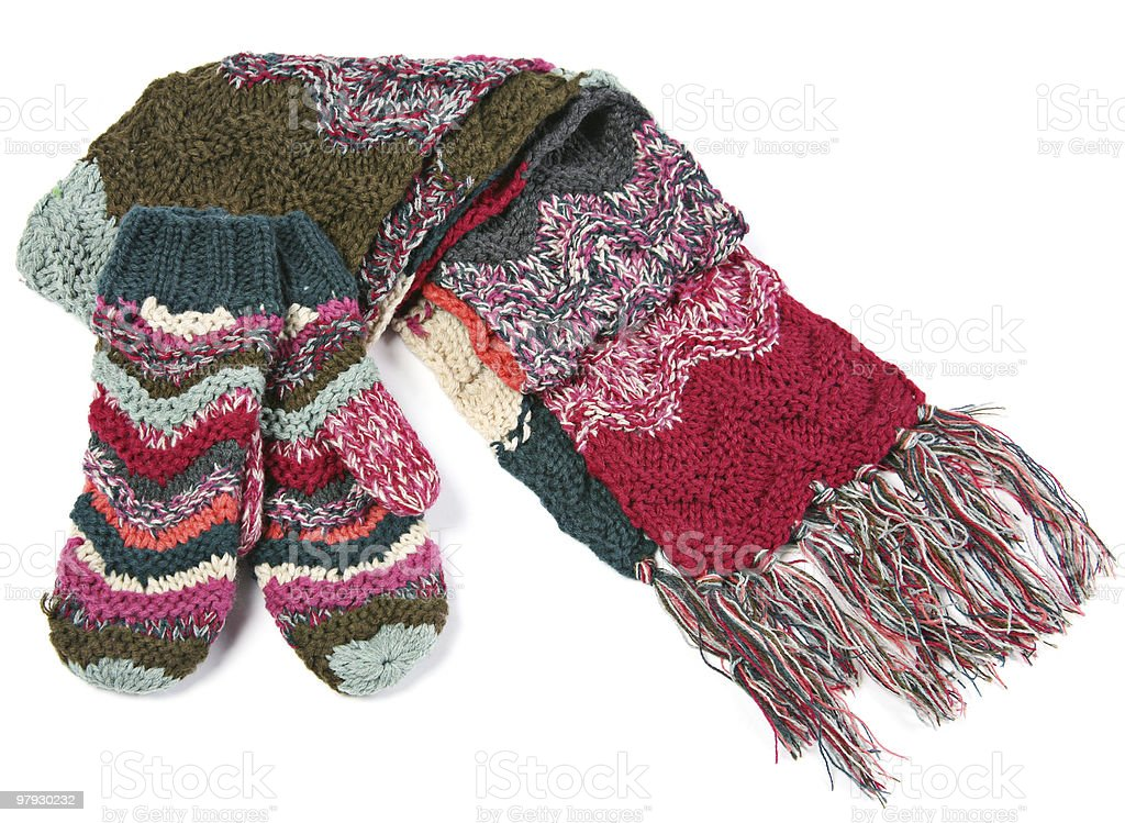 Wool scarf and mitts stock photo