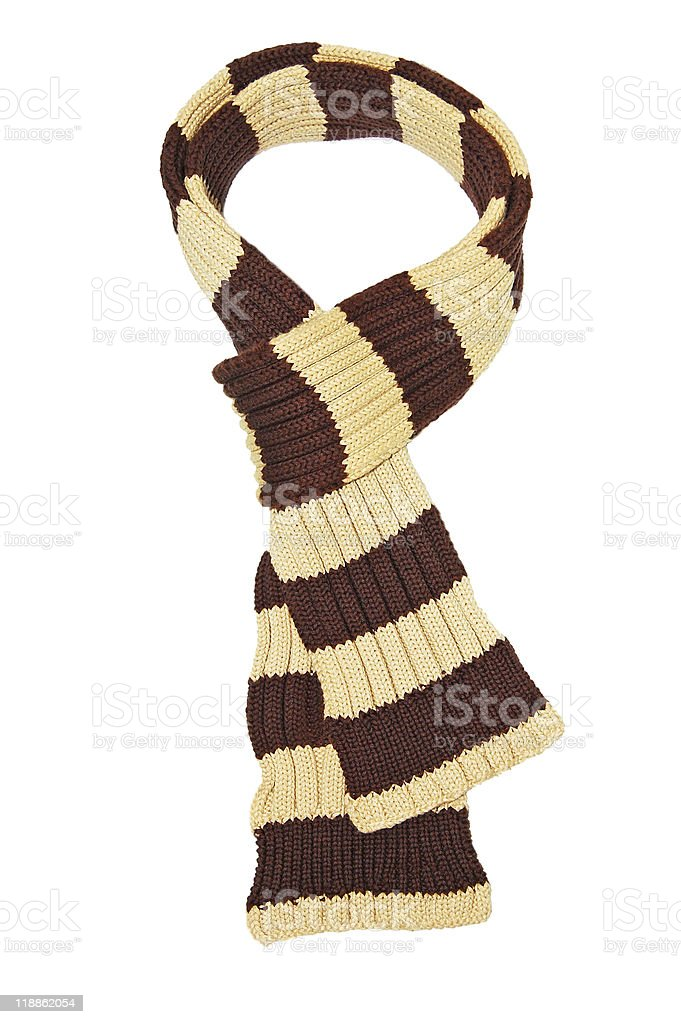 Wool scarf with stripes In brown and tan stock photo