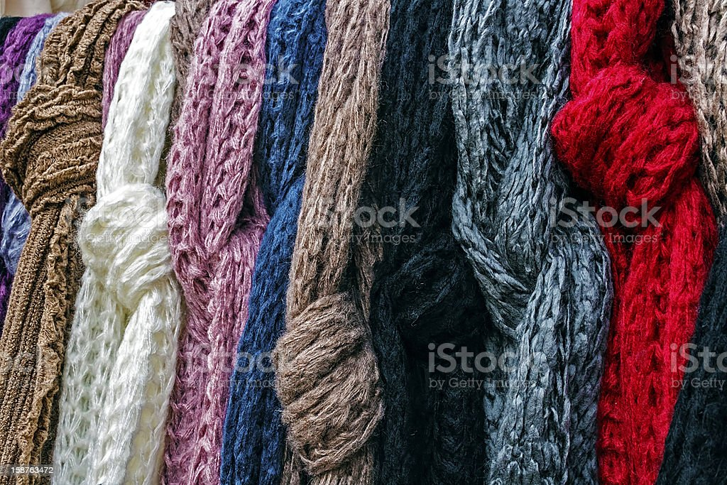 Wool scarves of various colors royalty-free stock photo