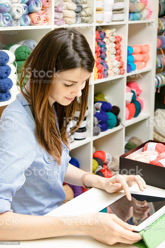 Wool shop owner royalty-free stock photo