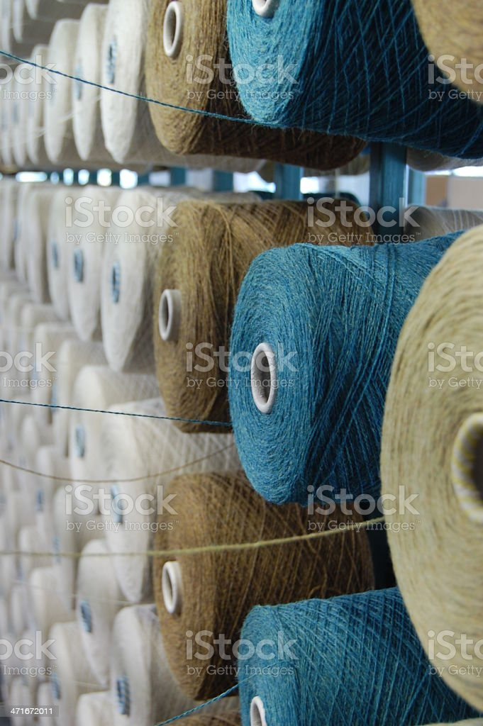 Wool Yarn on a Bobbin Rack in a Weaving Mill stock photo