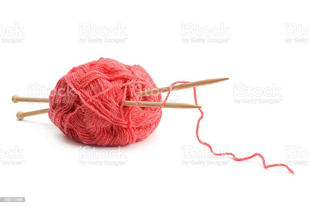 Woolen balls and knitting needles stock photo