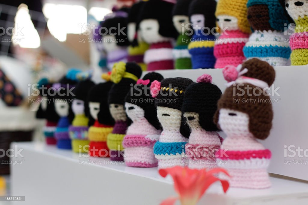 woolen dolls at japanese festival stock photo