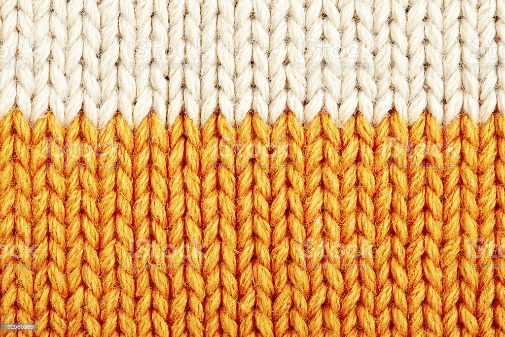 Woolen knit texture with beige and orange royalty-free stock photo