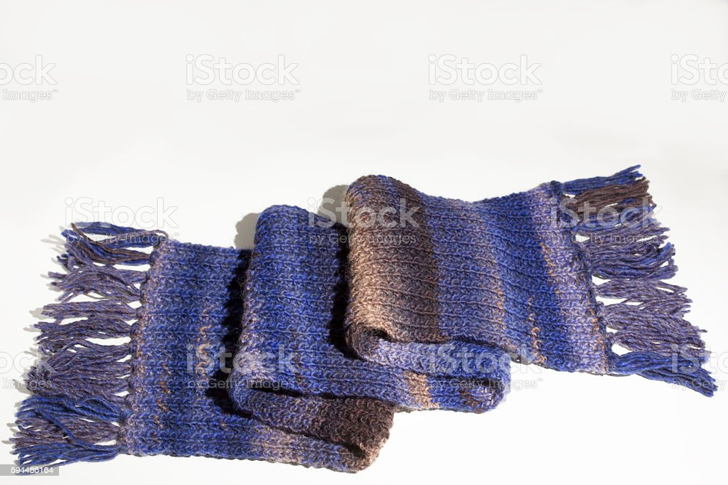 woolen scarf on white background highly detailed stock photo