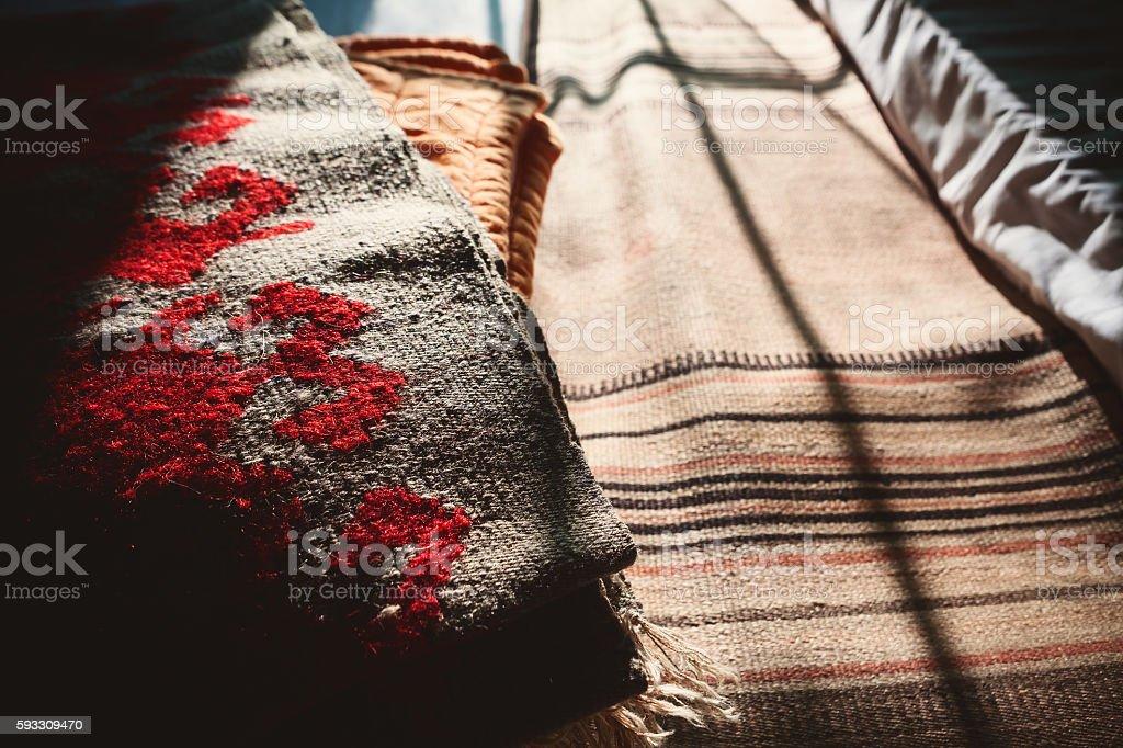 Woolen Serbian Blankets stock photo