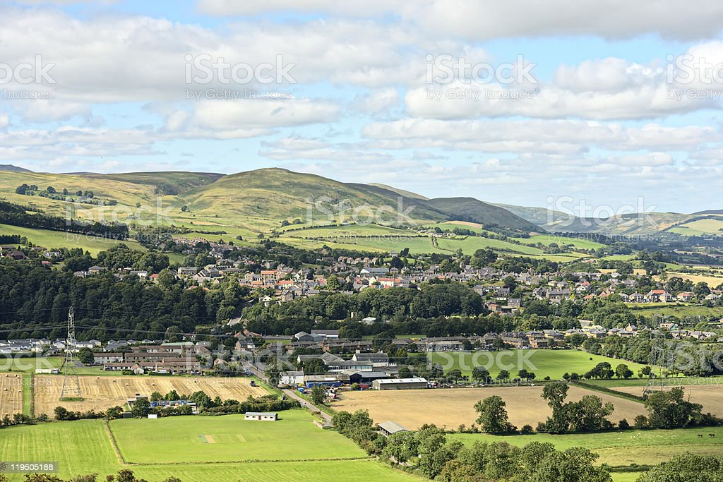 Wooler, Northumberland, England, UK, with Humbleton Hill in the background stock photo