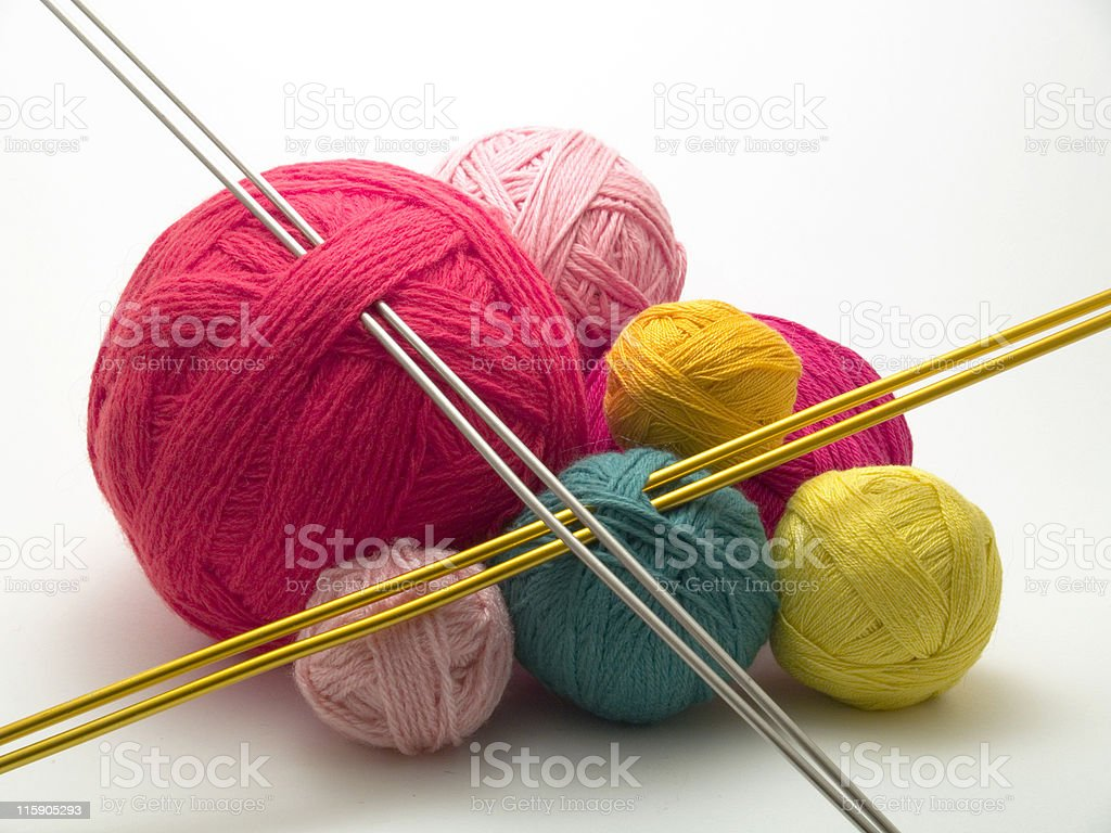 Wools and needles royalty-free stock photo