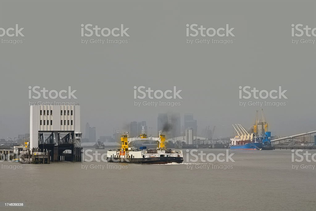 Woolwich ferry arriving stock photo