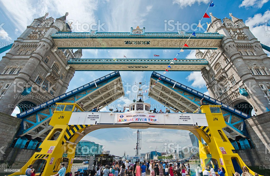 Woolwich Ferry at Tower Bridge stock photo