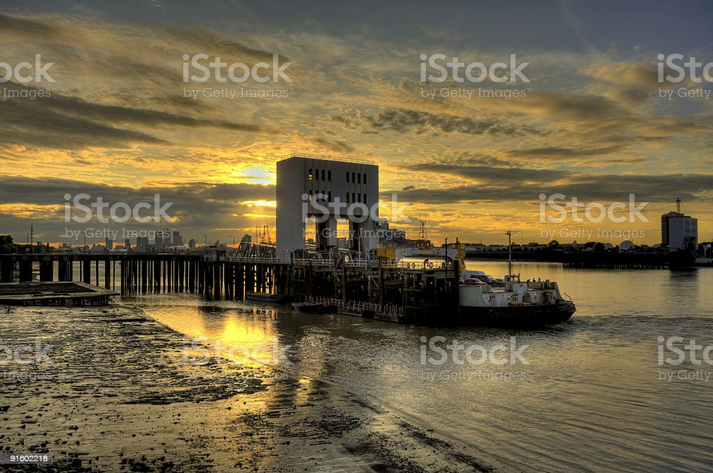 Woolwich sunset HDR stock photo