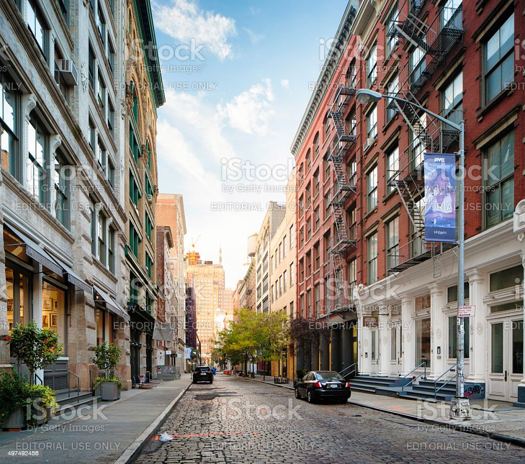 Wooster street in Soho Manhatan looking south stock photo